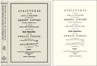 Strictures on the Lives and Characters of the Most Eminent Lawyers. Leman Thomas Rede