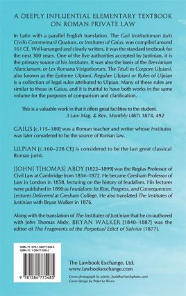 The Commentaries of Gaius and Rules of Ulpian.