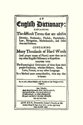 An English Dictionary: Explaining the Difficult Terms...