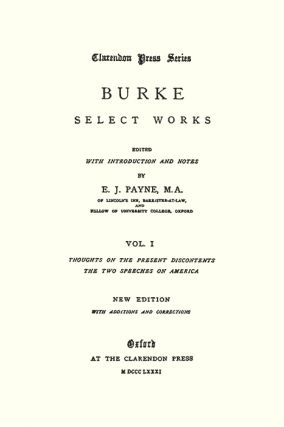 Select Works. Edited with an Introduction and Notes by E.J.