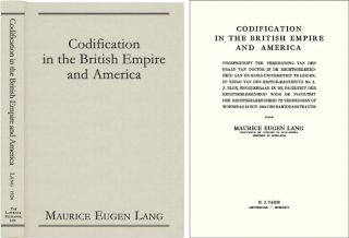 Codification in the British Empire and America. Maurice Eugen Lang