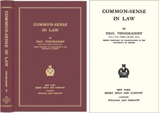 Common Sense in Law. Paul Vinogradoff