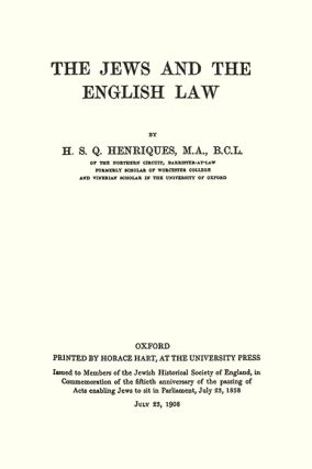 The Jews and the English Law