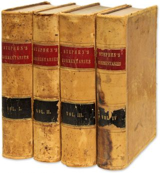 New Commentaries on the Laws of England. 4 Vols. 1st American Edition. Henry John Stephen.