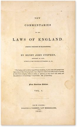 New Commentaries on the Laws of England. 4 Vols. 1st American Edition