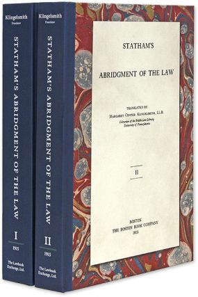 Statham's Abridgment [Abridgement of Cases] of the Law. 2 Vols. Nicholas Statham, Margaret...