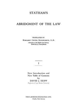 Statham's Abridgment [Abridgement of Cases] of the Law. 2 Vols.