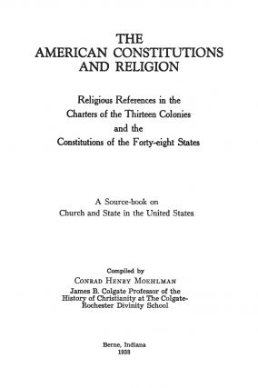 The American Constitutions and Religion: Religious References in...