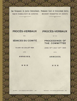 Proces-Verbaux of the Proceedings of the Committee June 16th-July. League of Nations. Advisory...
