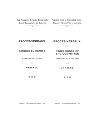 Proces-Verbaux of the Proceedings of the Committee June 16th-July...