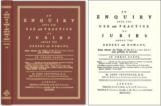 An Enquiry Into the Use and Practice of Juries Among the Greeks. John Pettingal.