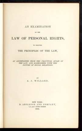 An Examination of the Law of Personal Rights, to Discover the...