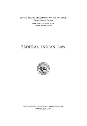 Federal Indian Law