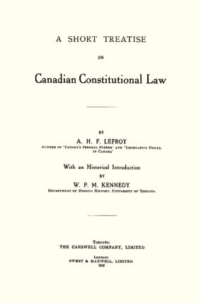 A Short Treatise on Canadian Constitutional Law