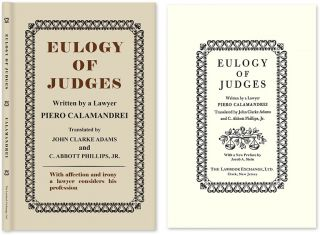 Eulogy of Judges. HARDCOVER. Piero. John Clarke Adams Calamandrei.