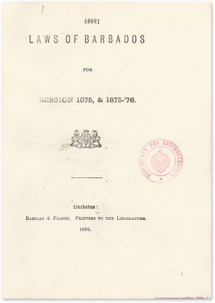 Laws of Barbados for Session 1875-79, 1881-82, 1889-90. Barbados