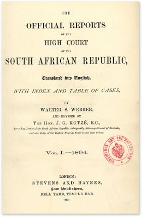 The Official Reports Of The High Court of the South African...