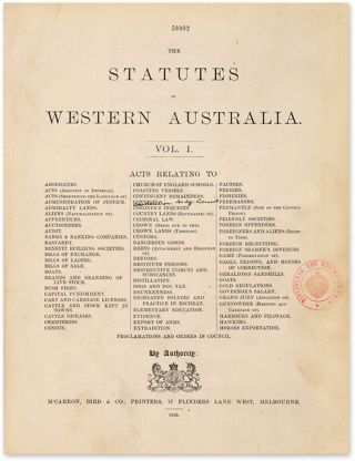 The Statutes Of Western Australia. By Authority. 2 volumes.