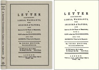 A Letter Concerning Libels, Warrants, The Seizure of Papers, and. John Father of Candor. Almon,...