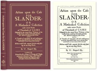 Action Upon the Case for Slander. Or a Methodical Collection. W. Sheppard, Paul Mitchell, New...