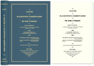 An Analysis of Blackstone's Commentaries on the Laws of England in. Barron Field, Sir William...