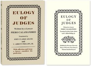 Eulogy of Judges. Paperback edition. Piero. John Clarke Adams Calamandrei.