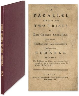 A Parallel Between the Two Trials of Lord George Sackville. Trial, George Germain Sackville, Defendant.