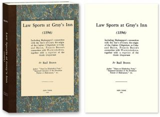 Law Sports at Gray's Inn (1594) Including Shakespeare's Connection. Basil Brown.