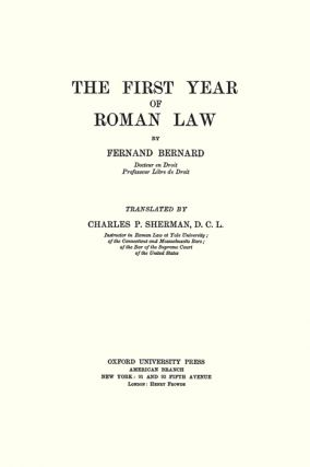 The First Year of Roman Law.