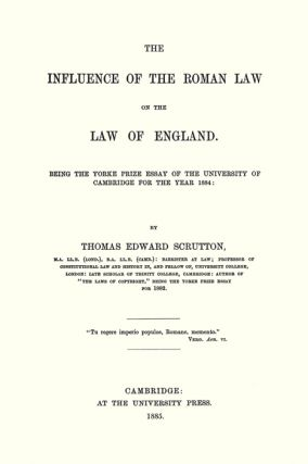 The Influence of the Roman Law on the Law of England. Paperback