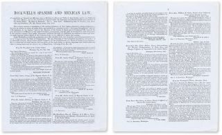 Prospectus for John A Rockwell's Compilation of Spanish and Mexican. Legal Publishing, John S....