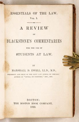 A Review of Blackstone's Commentaries for the Use of Students at Law.