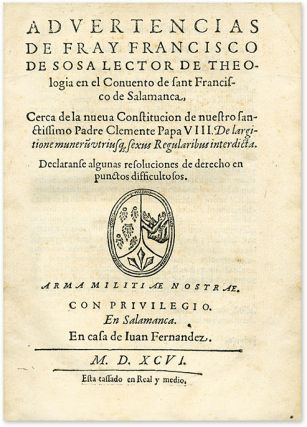 Advertencias de Fray Francisco de Sosa, Lector de Theologia...
