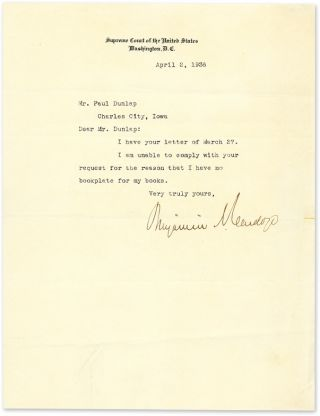 Typewritten Letter Signed On Supreme Court Stationary Washington 1936. Manuscript, Benjamin N....