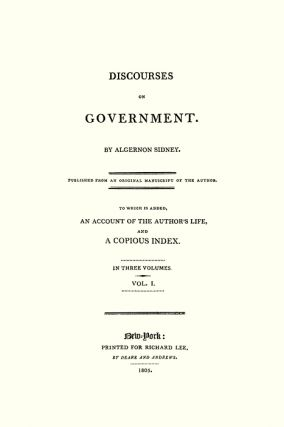 Discourses on Government. 1st American edition. 3 Vols. PAPERBACK