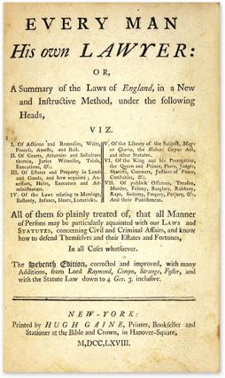 Every Man His Own Lawyer, or, A Summary of the Laws of England... 1768