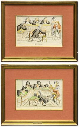 L'Incidente and La Sentence, Two Color Lithographs. France, Caricature