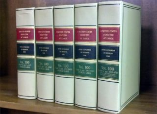 United States Statutes at Large. Volume 100, in 5 books (1986