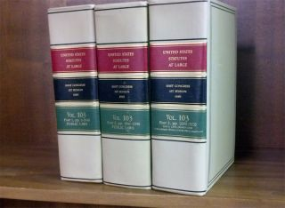 United States Statutes at Large. Volume 103, in 3 books (1989). United States Congress. 101st 1st...