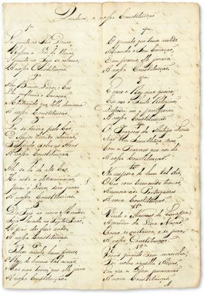 Quadras a Nossa Constituicao. Manuscript, Portugal, Constitution of 1822