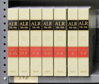 ALR 5th and 6th Tables of Cases. A-Z, 7 books (softbound). 2012 Ed. Thomson West