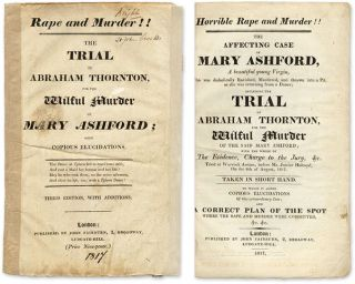 Horrible Rape and Murder!! The Affecting Case of Mary Ashford. Trial, Abraham Thornton,...