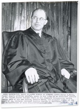 "6-1/2"" x 9"" Black-and-White Press Photograph of Justice White. Byron R. White."
