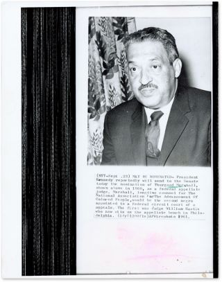 "6-1/2"" x 8-1/2"" Black-and-White Press Photograph of Thurgood Marshall. Thurgood Marshall."