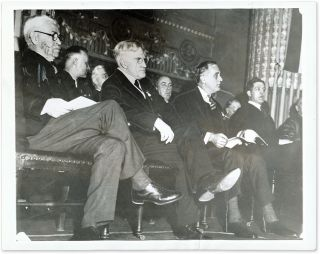 "7"" x 9"" Black-and-White Photograph of Cardozo Sitting Next to FDR. Benjamin N. Cardozo, Franklin Delano Roosevelt."