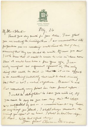Autograph Letter, Signed, to Black [with] The Story of My Life, 1st. Clarence Darrow, Forrest R....