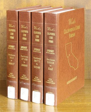 Government 4th (West's California Code Forms) 4 Vols. 2014 supps. Thomson West