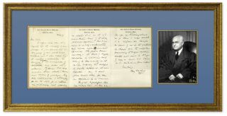 Autograph Letter, Signed, on Harvard Law School Letterhead. Framed. Felix Frankfurter.