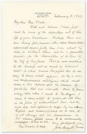 Autograph Letter, Signed, To Poole, February 8, 1943. Manuscript, John Bassett Moore, Mrs Frank...