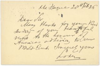 Autograph Note, Signed, on the back of a 7-1/2 cent Netherlands. Bernard C. J. Loder, Alfred A....